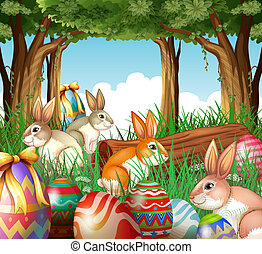 A group of bunnies and easter eggs