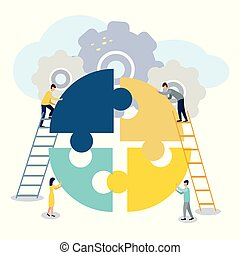A group of businessmen involved in puzzle pieces, is to support the team, brainstorm or success