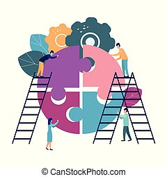 A group of businessmen involved in puzzle pieces, is to support the team, brainstorm or success, to find the perfect idea concept