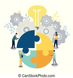 A group of businessmen involved in puzzle pieces, is to support the team, brainstorm or success,