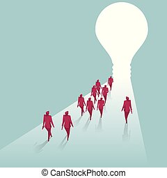 A group of businessmen walk towards the light bulb. Isolated on blue background.
