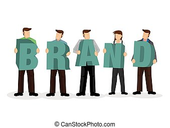 A group of businesspeople holding giant alphabet to form the word Brand. Concept of collaboration, teamwork or corporate culture. Isolated vector illustration.