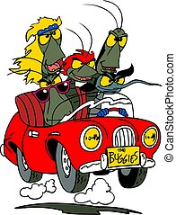 A group of cartoon bugs travelling by a convertible car vector illustration