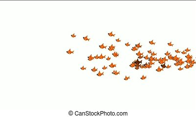 a group of cartoon goldfish.