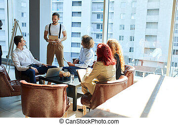 A group of caucasian people at the business conference - An ...