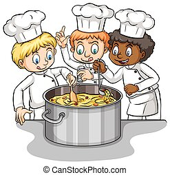 A group of chefs idiom - Too many cooks spoil the brotth