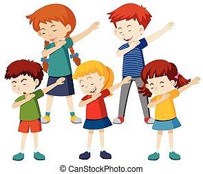 A group of children dab illustration