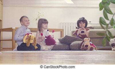 A group of children with stuffed toys