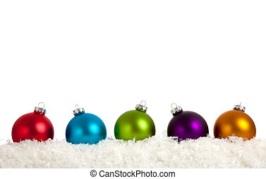 A group of colorful Christmas Baubles on White