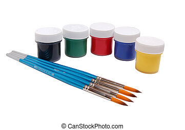 A group of colorful paint cans with paintbrush