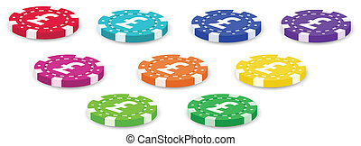 A group of colorful poker chips