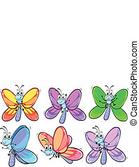 A group of colourful butterflies