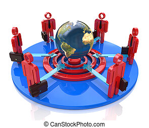 A group of competitors in a circle aiming for the same global goal