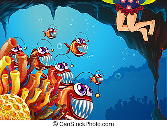 A group of fish watching the young girl