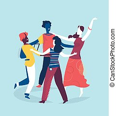 A group of friends is dancing together