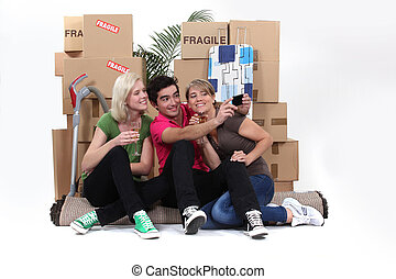 A group of friends on moving day