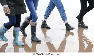 A Group Of Friends Walk Along A Winter Beach