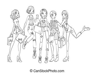 A group of girls with shopping bags in hands. Outline vector illustration, isolated on white background.