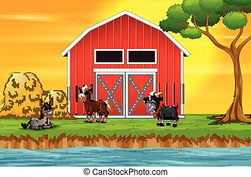 A group of goat on the farm background