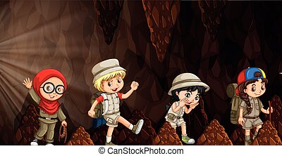 A group of international kids exploring the cave