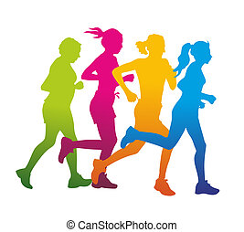 jogger - a group of jogger as colored silhouette