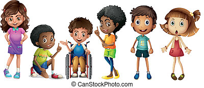A group of kids - Illustration of a group of kids on a white...
