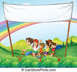 A group of kids under the empty signage - Illustration of a...