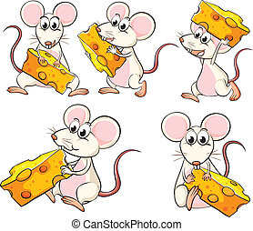 A group of mice carrying slices of cheese - Illustration of...