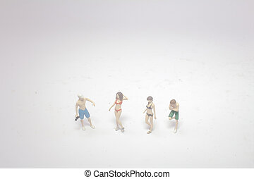 a group of mini figure stand on