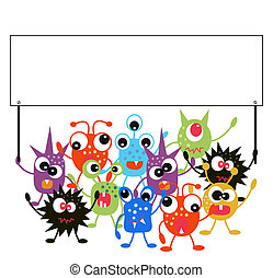 monsters holding a placard - a group of monsters holding a...