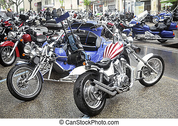 a group of motorcycles from a gathering of American...