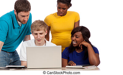 A group of multi-cultural college students/friends gathered around a computer