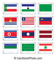 A Group of National Flags on Metal Texture Plates - National...