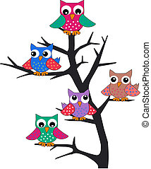 owls - a group of owls sitting in a tree