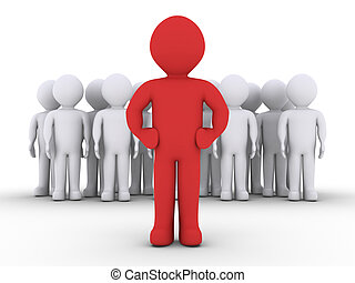 A group of people and their leader - 3d people in a group...
