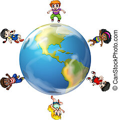 A group of people around the globe