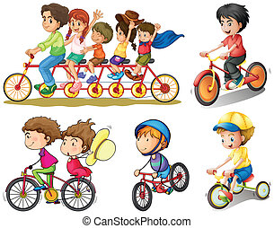 A group of people biking - Illustration of a group of people...