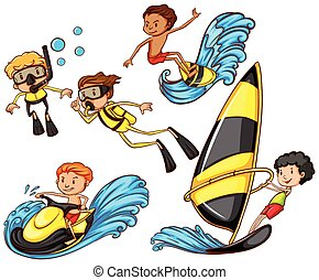 A group of people enjoying the watersport activities - A...