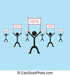 "A group of people holding a poster with the word ""vote"".  illustration."