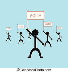 "A group of people holding a poster with the word ""vote"". Vector illustration."