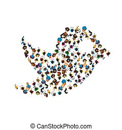 A group of people in a shape of bird icon, isolated on white background. Vector illustration