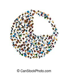 A group of people in a shape of chart icon, isolated on white background.