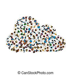 A group of people in a shape of cloud icon, isolated on white background. Vector illustration