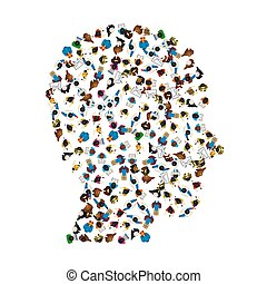 A group of people in a shape of head icon, isolated on white background. Vector illustration