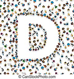 A group of people in of English alphabet letter D.