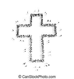 people in the shape of a Catholic cross, religion