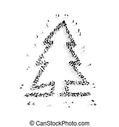 People In The Shape Of A Christmas Tree
