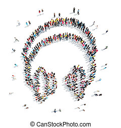 people in the shape of headphones, music