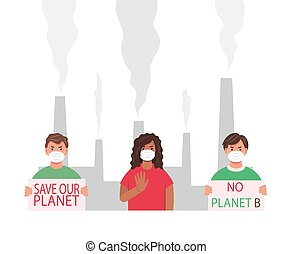A group of people protesting against air pollution and the ...