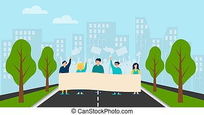 A group of people protesting in a strike, rally or parade. People with flags and banners. A crowd of protesters against the backdrop of the city. Vector background. Illustration in cartoon style.